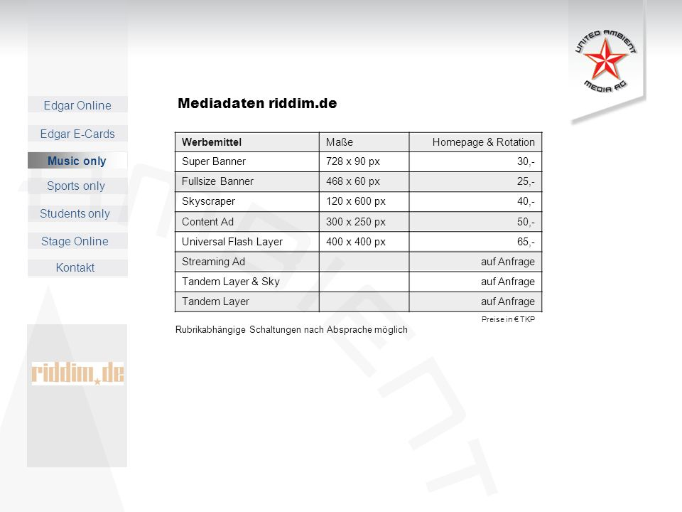 Mediadaten riddim.de Music only Werbemittel Maße Homepage & Rotation