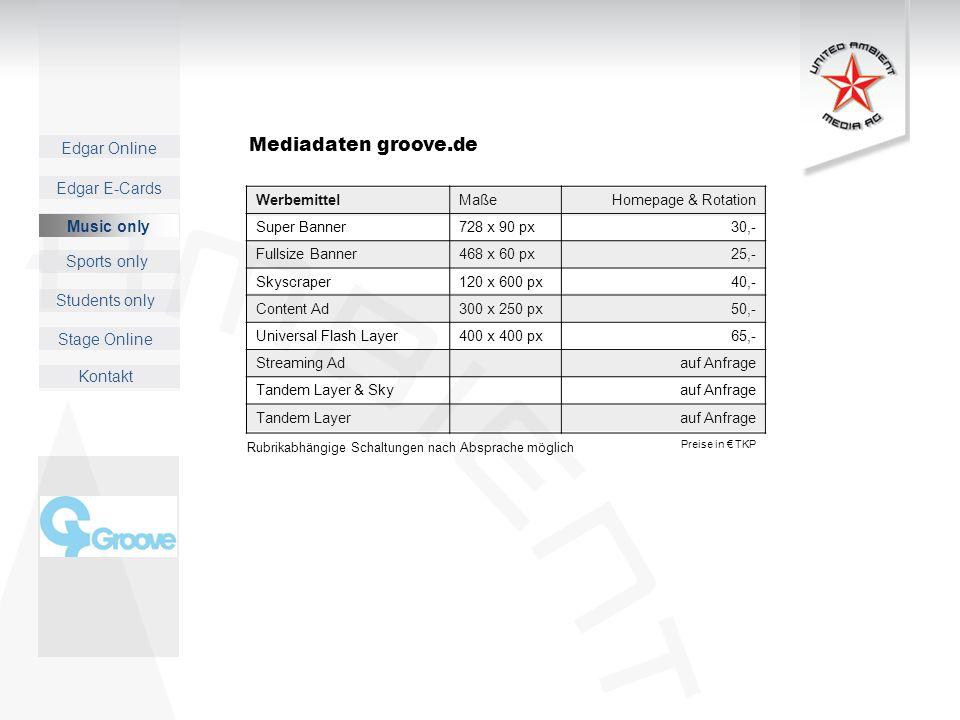 Mediadaten groove.de Music only Werbemittel Maße Homepage & Rotation
