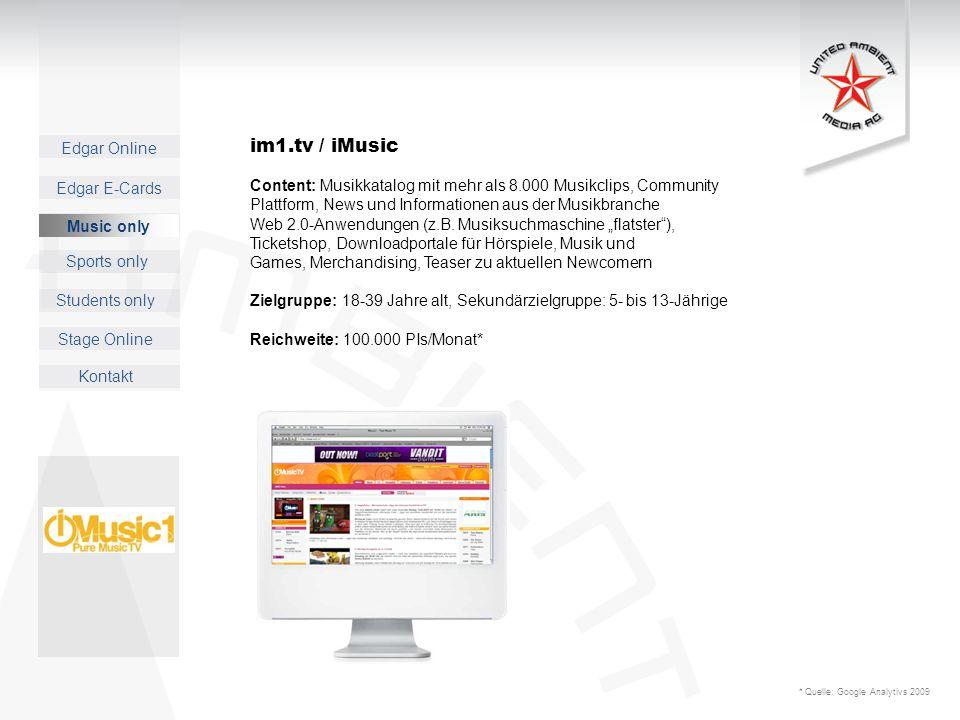 im1.tv / iMusic Content: Musikkatalog mit mehr als 8.000 Musikclips, Community. Plattform, News und Informationen aus der Musikbranche.