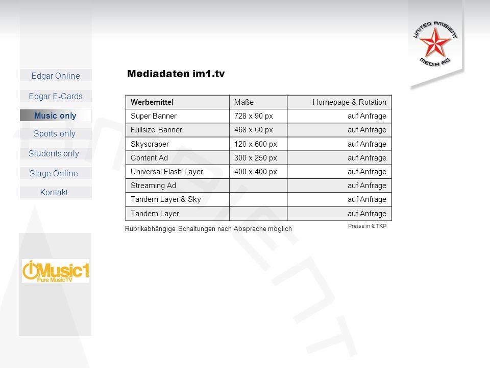 Mediadaten im1.tv Music only Werbemittel Maße Homepage & Rotation