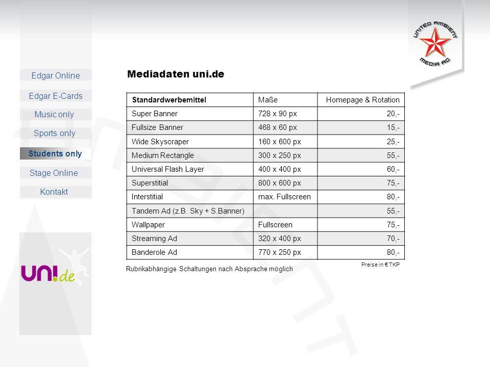 Mediadaten uni.de Students only Standardwerbemittel Maße