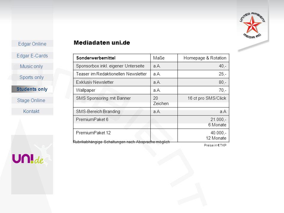 Mediadaten uni.de 38 Students only Sonderwerbemittel Maße