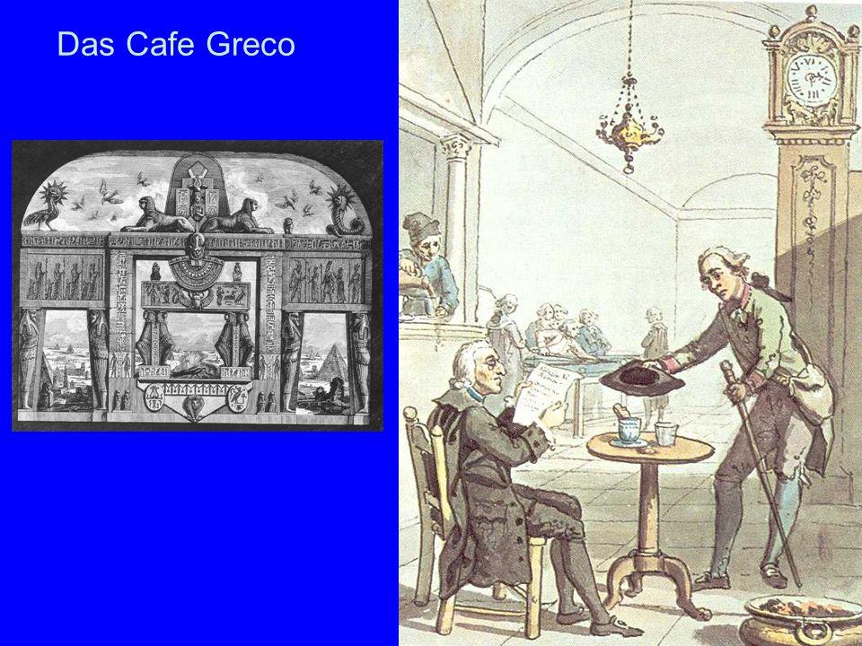 Das Cafe Greco Das Aquarell links stammt von David Allan und zeigt eine Szene in einem römischen Caffe um 1775.