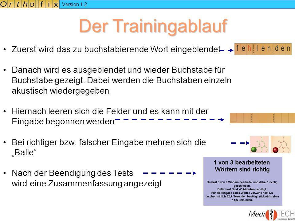 Version 1.2 Der Trainingablauf. Zuerst wird das zu buchstabierende Wort eingeblendet.