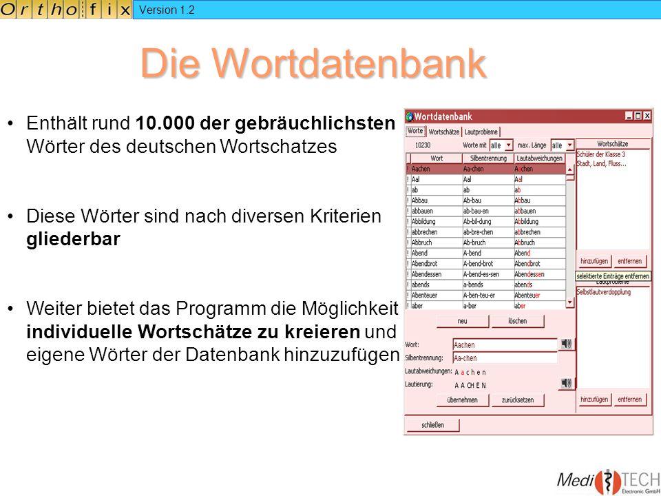 Version 1.2 Die Wortdatenbank. Enthält rund 10.000 der gebräuchlichsten Wörter des deutschen Wortschatzes.