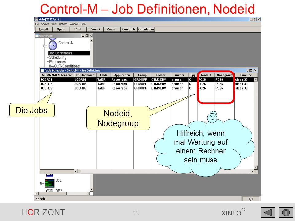 Control-M – Job Definitionen, Nodeid