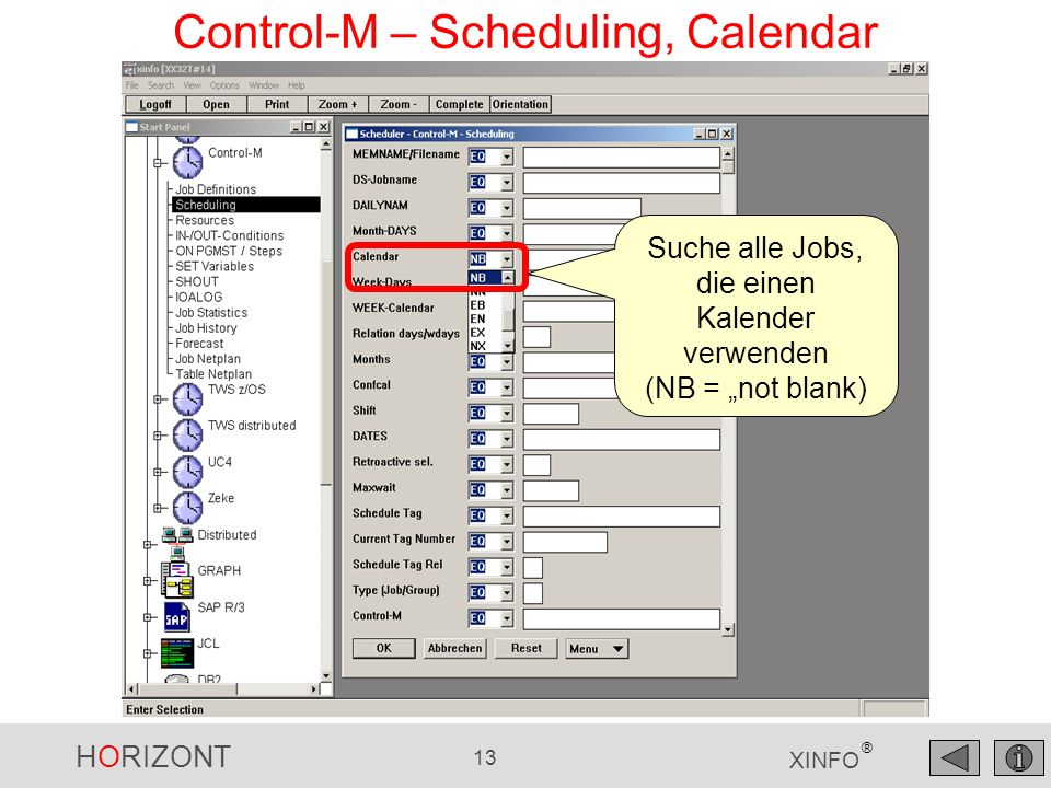 Control-M – Scheduling, Calendar