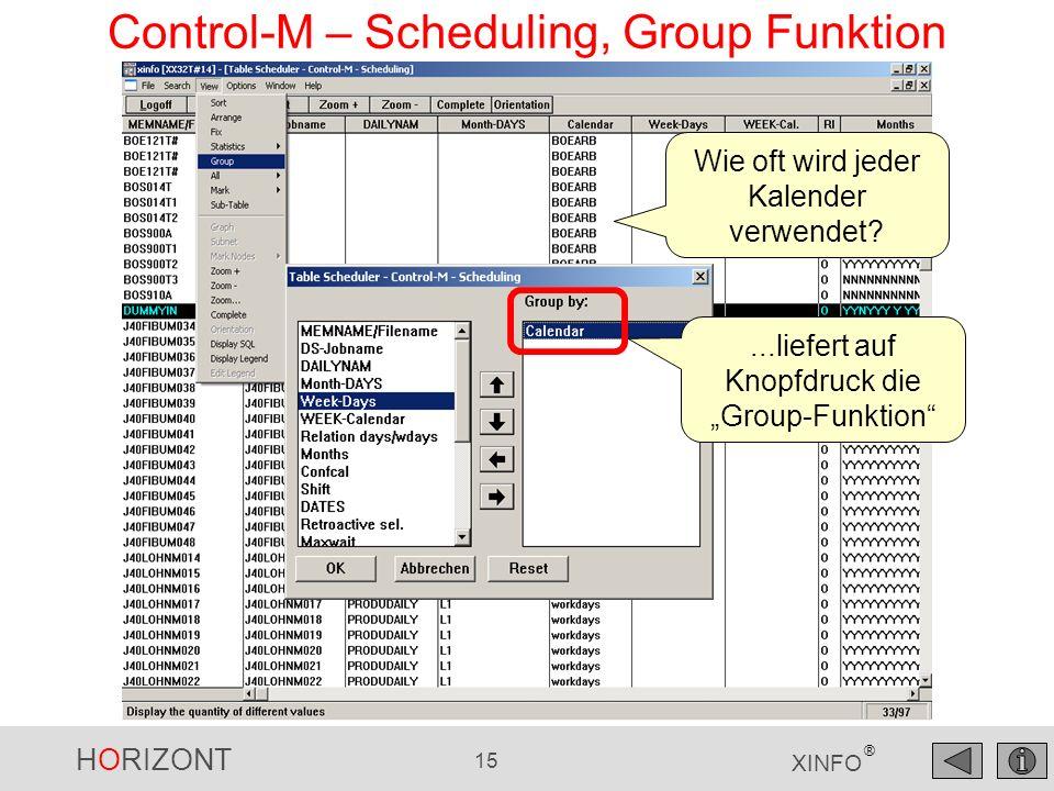 Control-M – Scheduling, Group Funktion