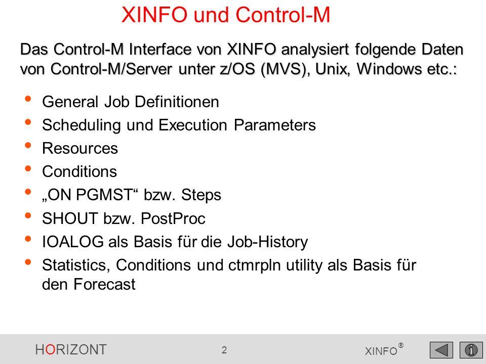 XINFO und Control-M Das Control-M Interface von XINFO analysiert folgende Daten von Control-M/Server unter z/OS (MVS), Unix, Windows etc.: