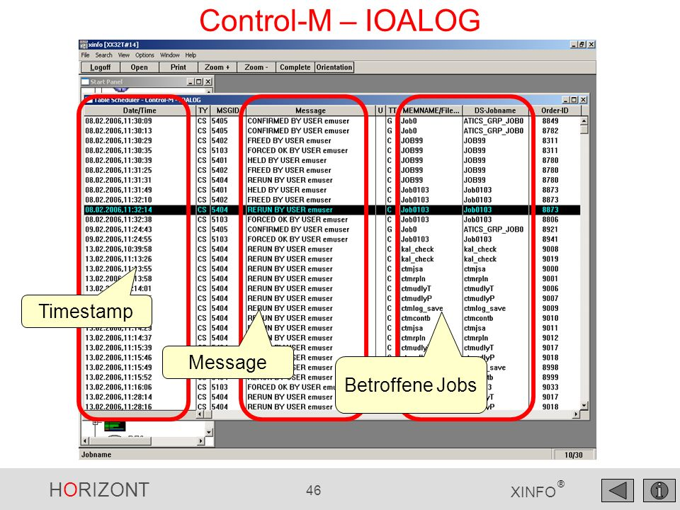 Control-M – IOALOG Timestamp Message Betroffene Jobs