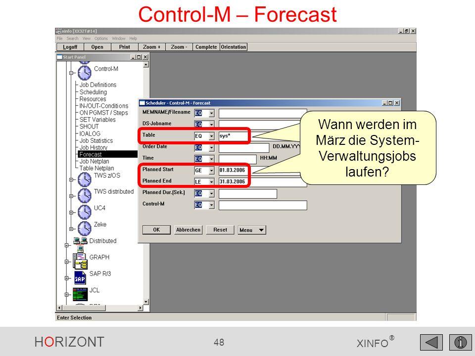 Control-M – Forecast Wann werden im März die System-Verwaltungsjobs laufen.