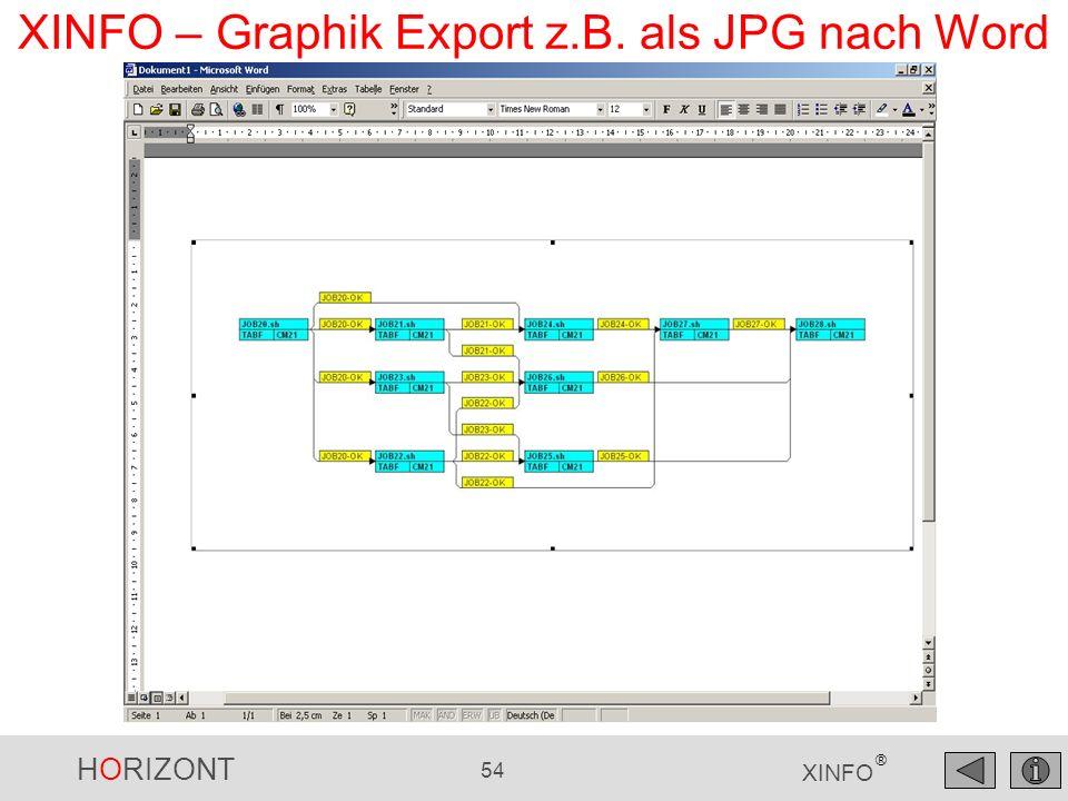 XINFO – Graphik Export z.B. als JPG nach Word