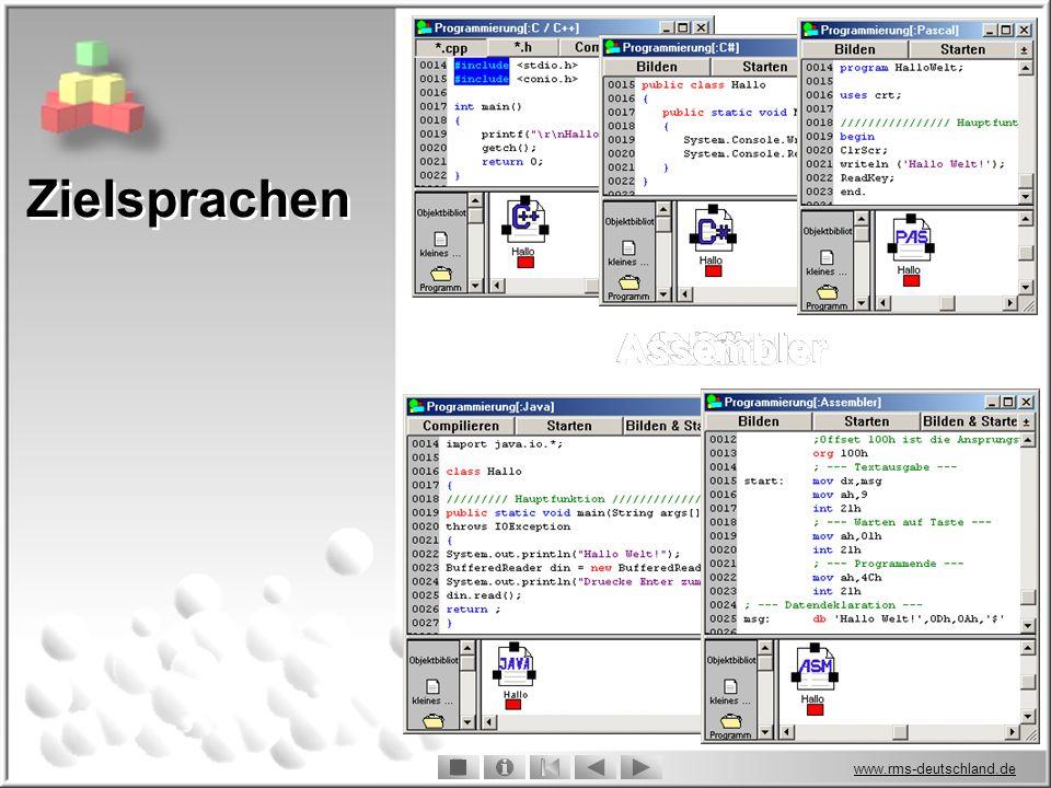 Zielsprachen Assembler Assembler C / C++ C / C++ Pascal Pascal Java