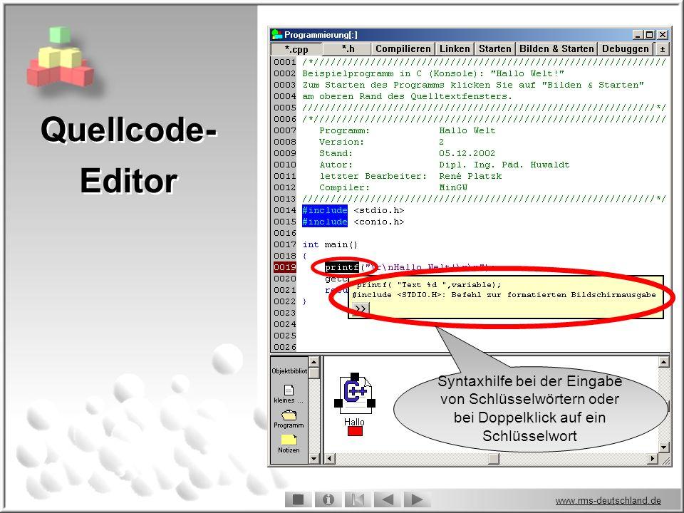 Quellcode-Editor Syntaxhilfe bei der Eingabe von Schlüsselwörtern oder bei Doppelklick auf ein Schlüsselwort.
