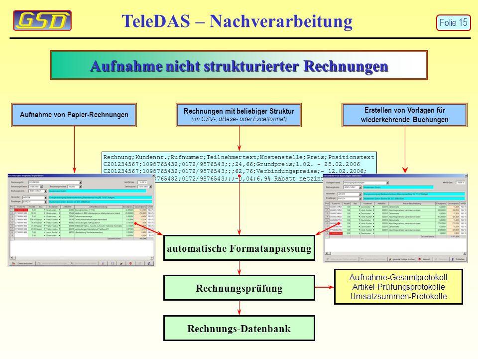 Aufnahme nicht strukturierter Rechnungen
