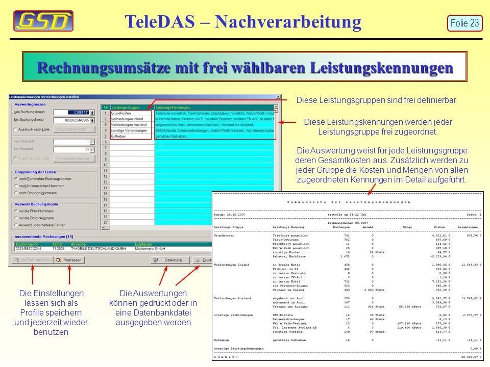 Rechnungsumsätze mit frei wählbaren Leistungskennungen