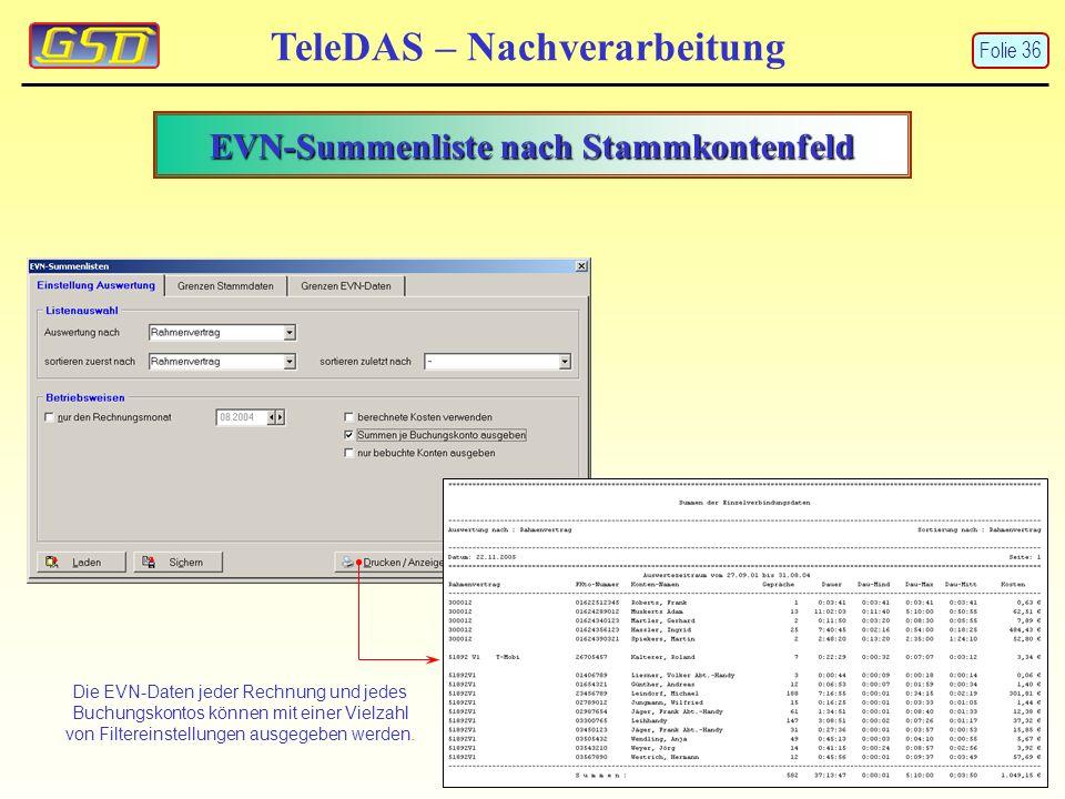 EVN-Summenliste nach Stammkontenfeld