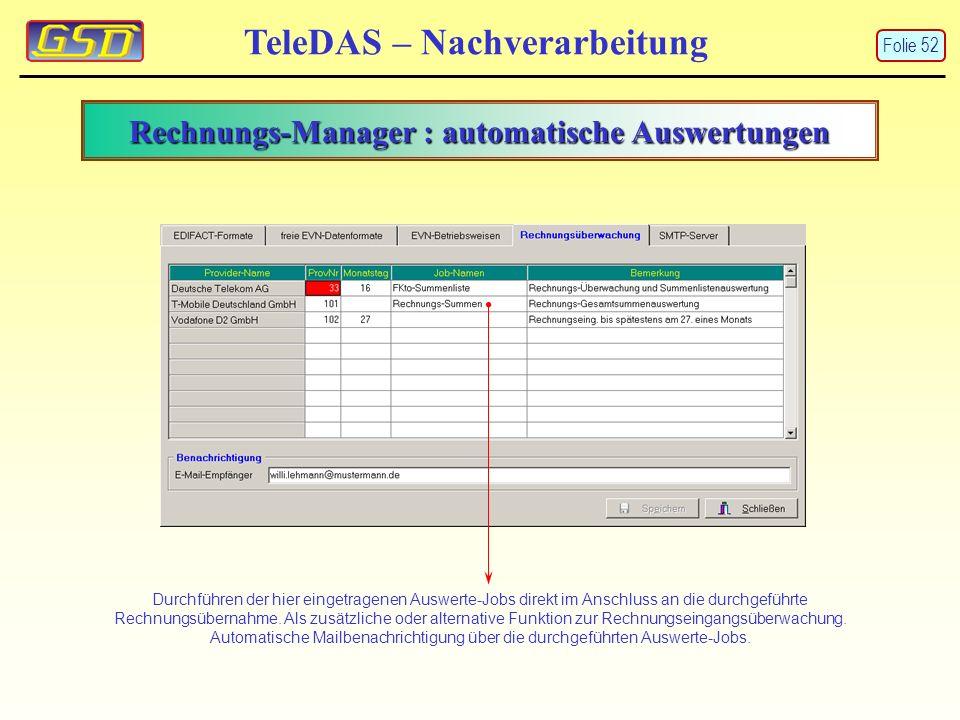 Rechnungs-Manager : automatische Auswertungen