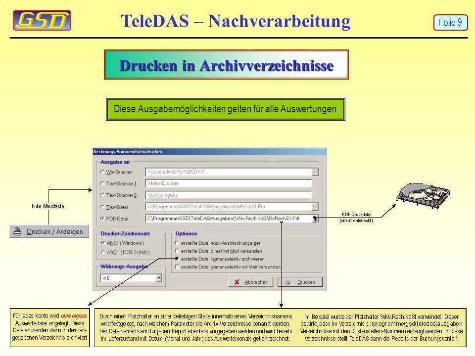 Drucken in Archivverzeichnisse