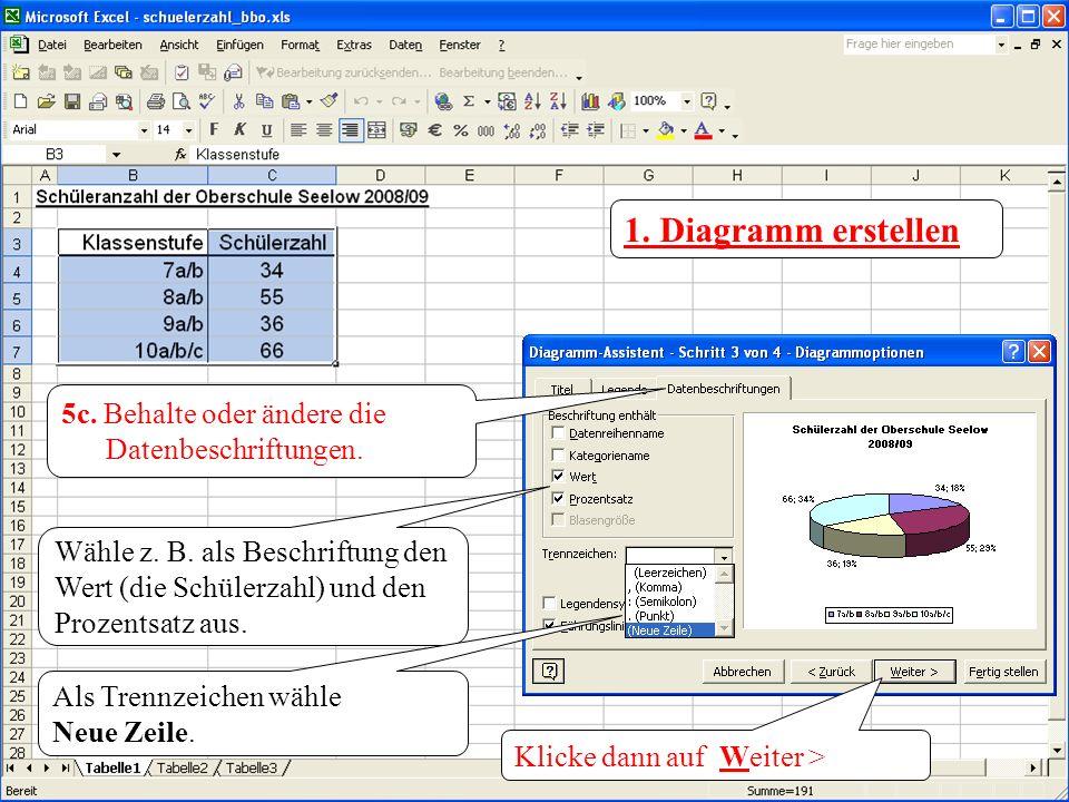 1. Diagramm erstellen 5c. Behalte oder ändere die Datenbeschriftungen.