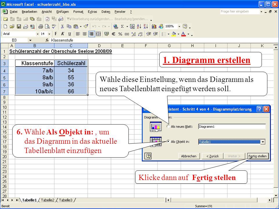 1. Diagramm erstellen Wähle diese Einstellung, wenn das Diagramm als neues Tabellenblatt eingefügt werden soll.