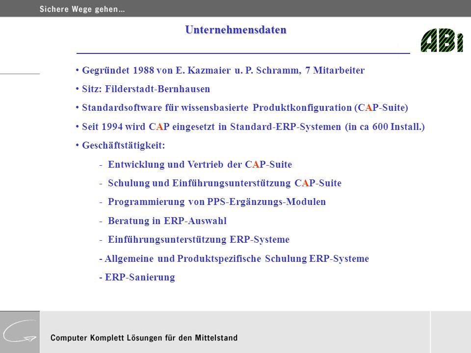 Unternehmensdaten Gegründet 1988 von E. Kazmaier u. P. Schramm, 7 Mitarbeiter. Sitz: Filderstadt-Bernhausen.