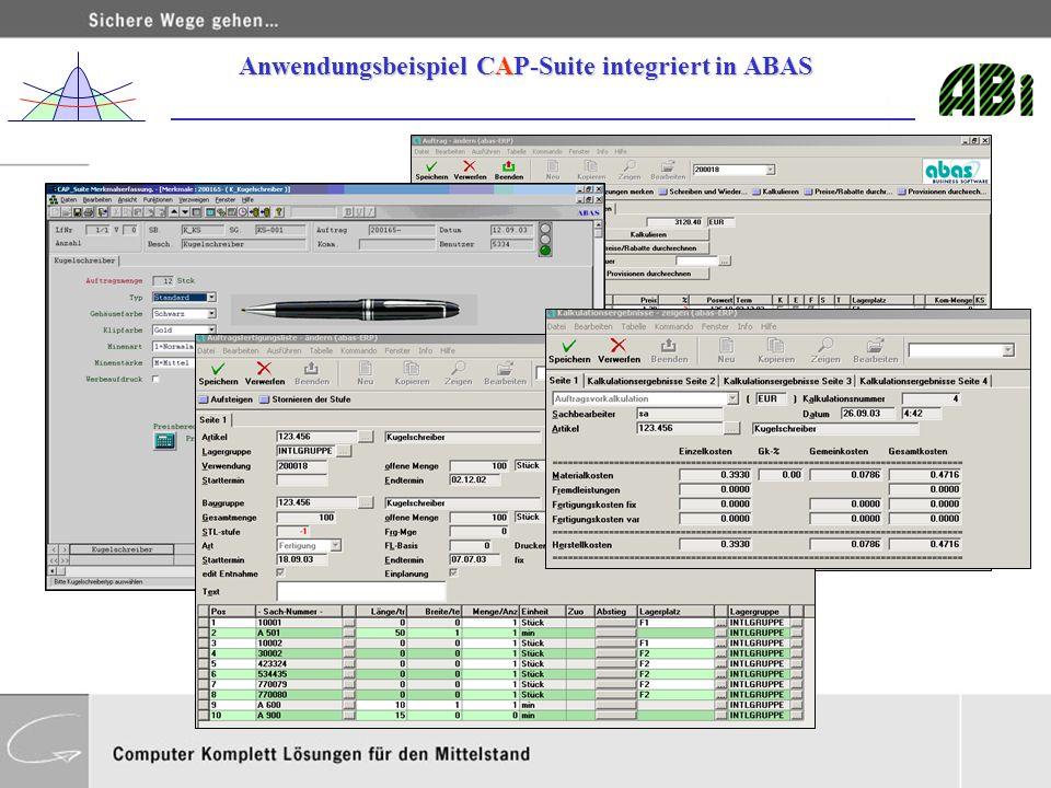 Anwendungsbeispiel CAP-Suite integriert in ABAS