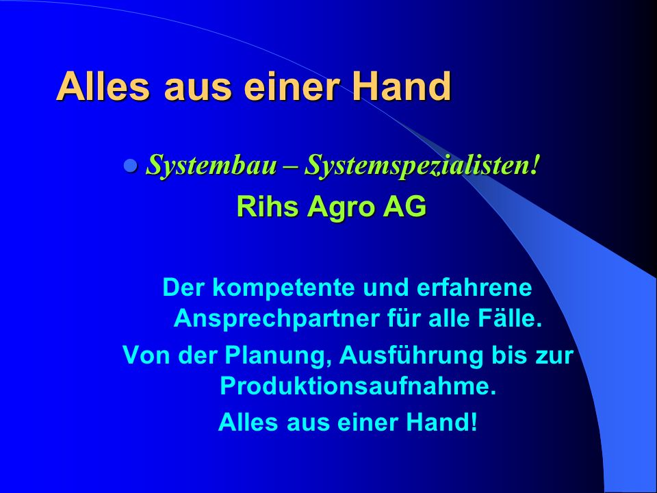 Systembau von rihs agro ag ppt video online herunterladen for Bauen aus einer hand