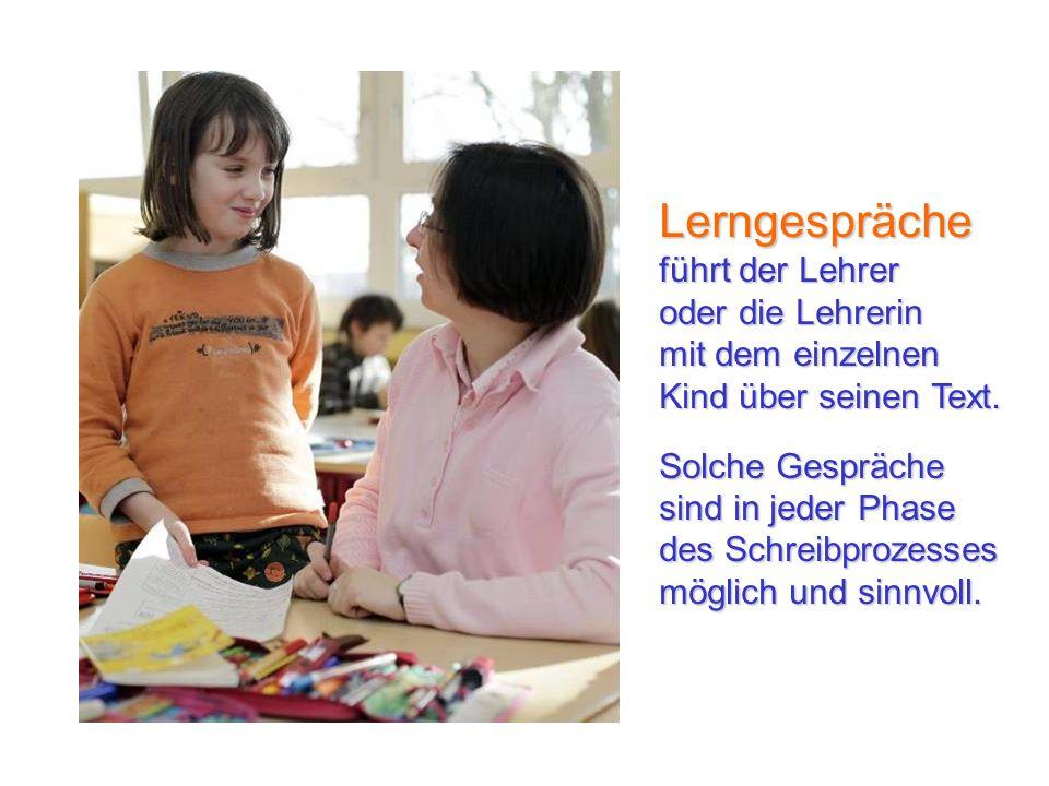 Lerngespräche führt der Lehrer oder die Lehrerin