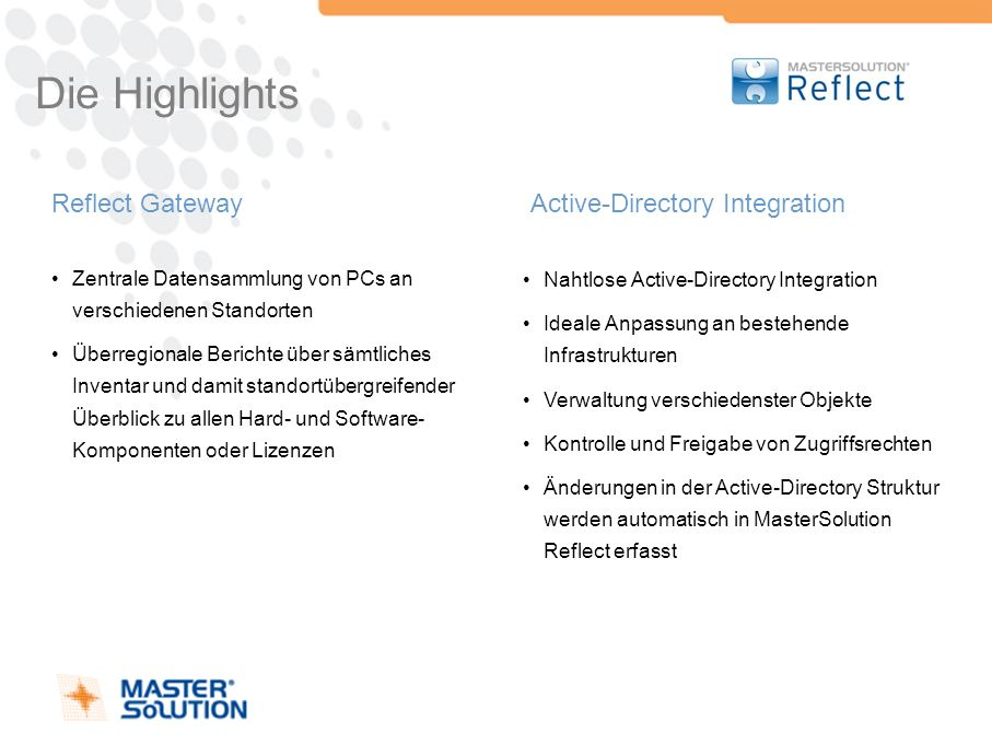 Die Highlights Reflect Gateway Active-Directory Integration