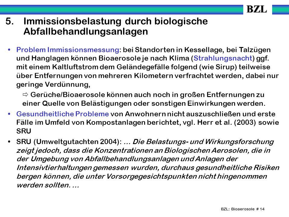 5. Immissionsbelastung durch biologische Abfallbehandlungsanlagen