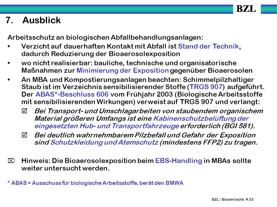 7. Ausblick Arbeitsschutz an biologischen Abfallbehandlungsanlagen: