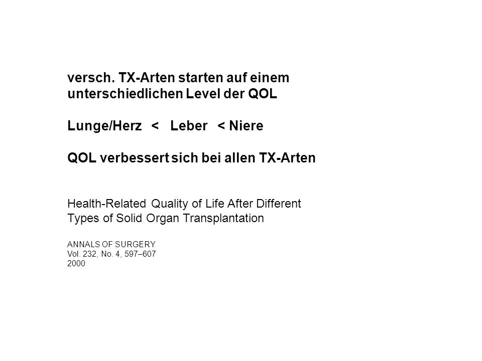 versch. TX-Arten starten auf einem unterschiedlichen Level der QOL
