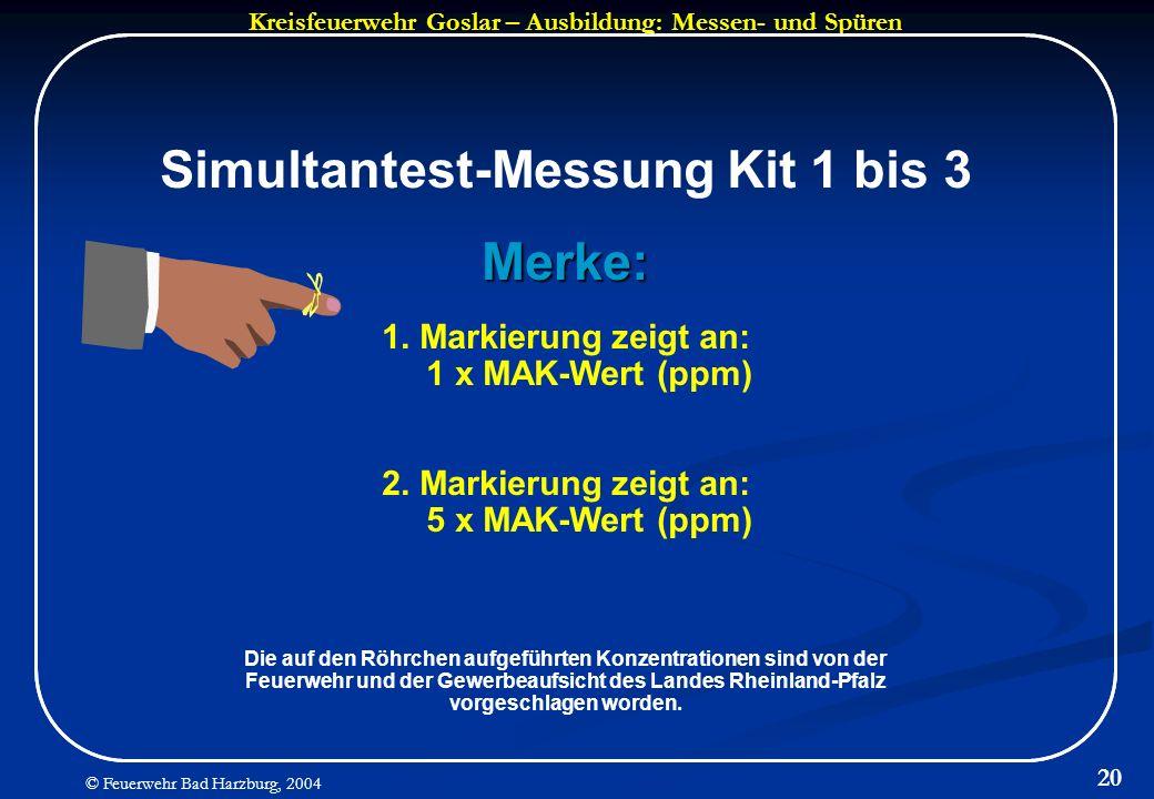 Simultantest-Messung Kit 1 bis 3 Merke:
