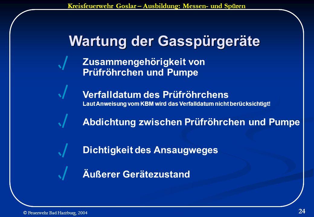Wartung der Gasspürgeräte