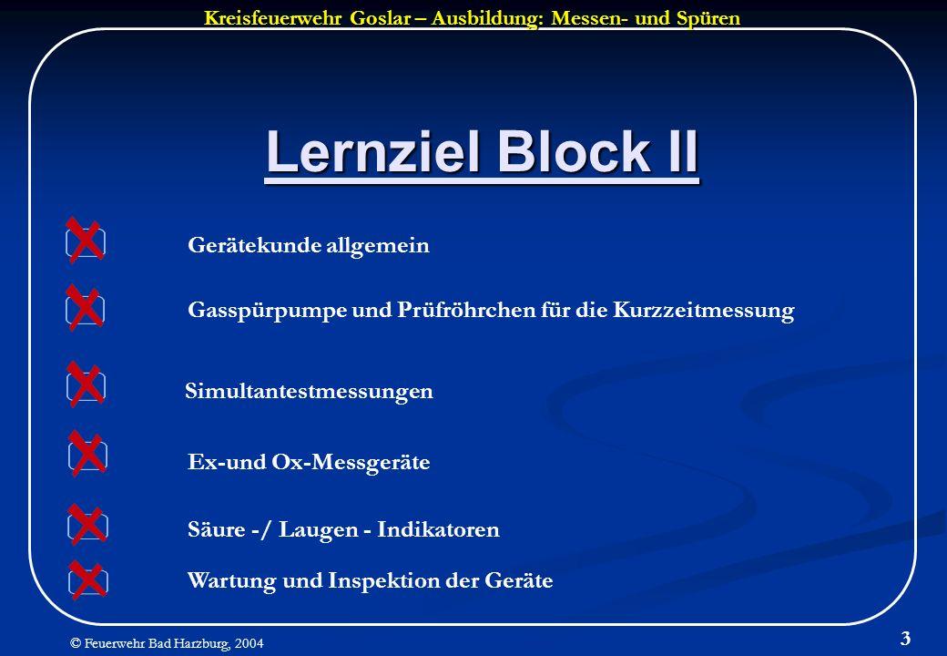 Lernziel Block II Gerätekunde allgemein