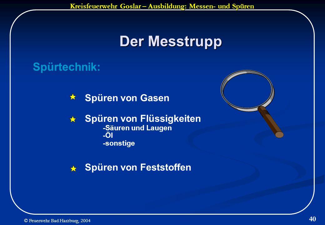 Der Messtrupp Spürtechnik: Spüren von Gasen Spüren von Flüssigkeiten
