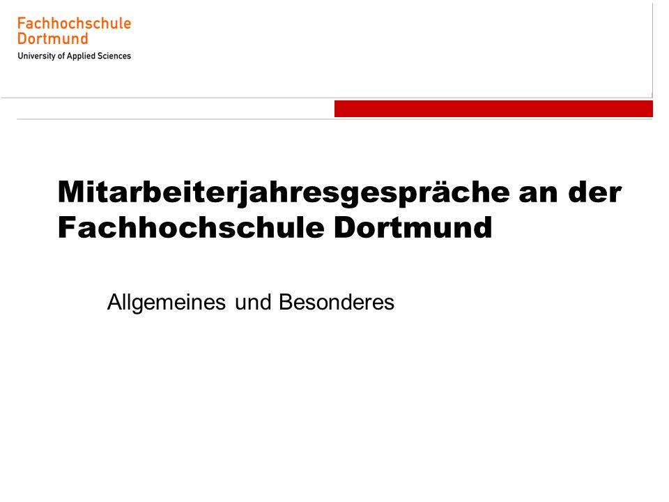 Mitarbeiterjahresgespräche an der Fachhochschule Dortmund