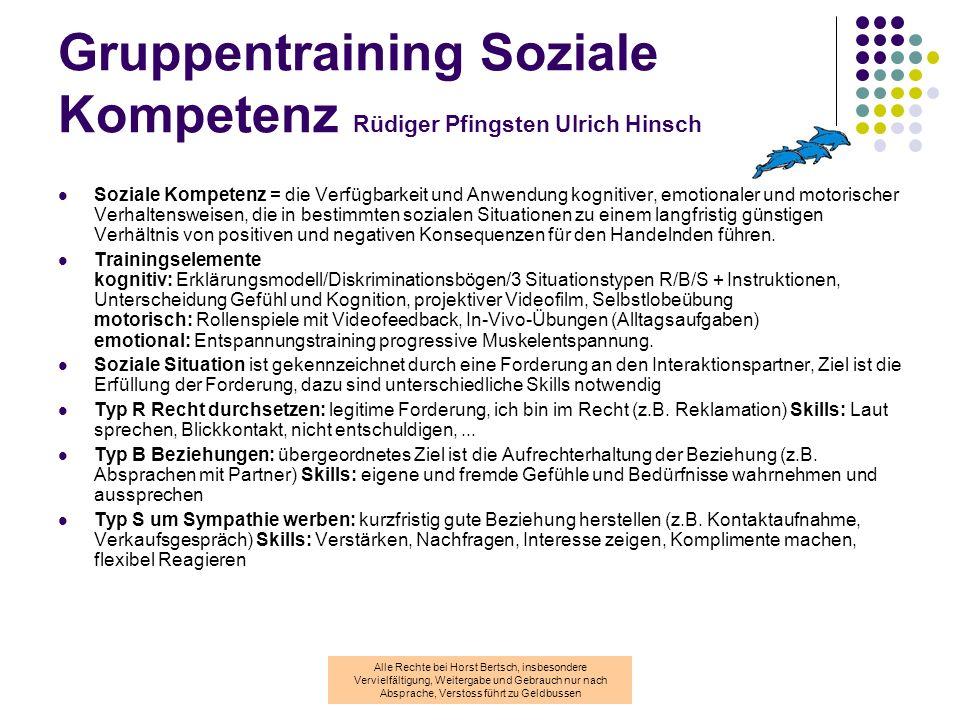 Gruppentraining Soziale Kompetenz Rüdiger Pfingsten Ulrich Hinsch