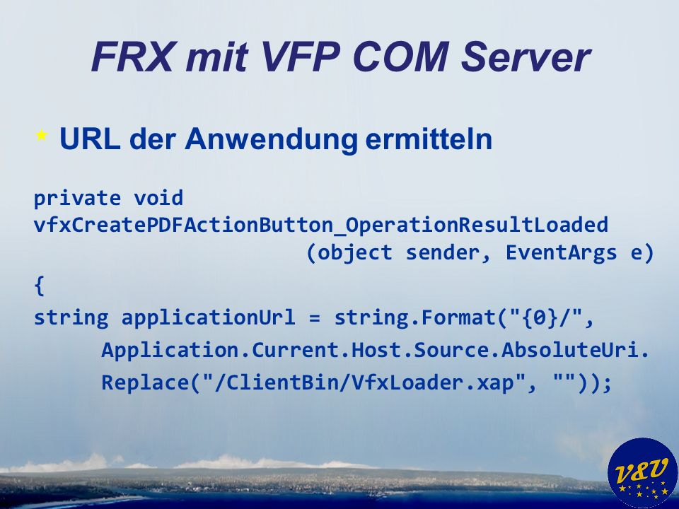 FRX mit VFP COM Server URL der Anwendung ermitteln