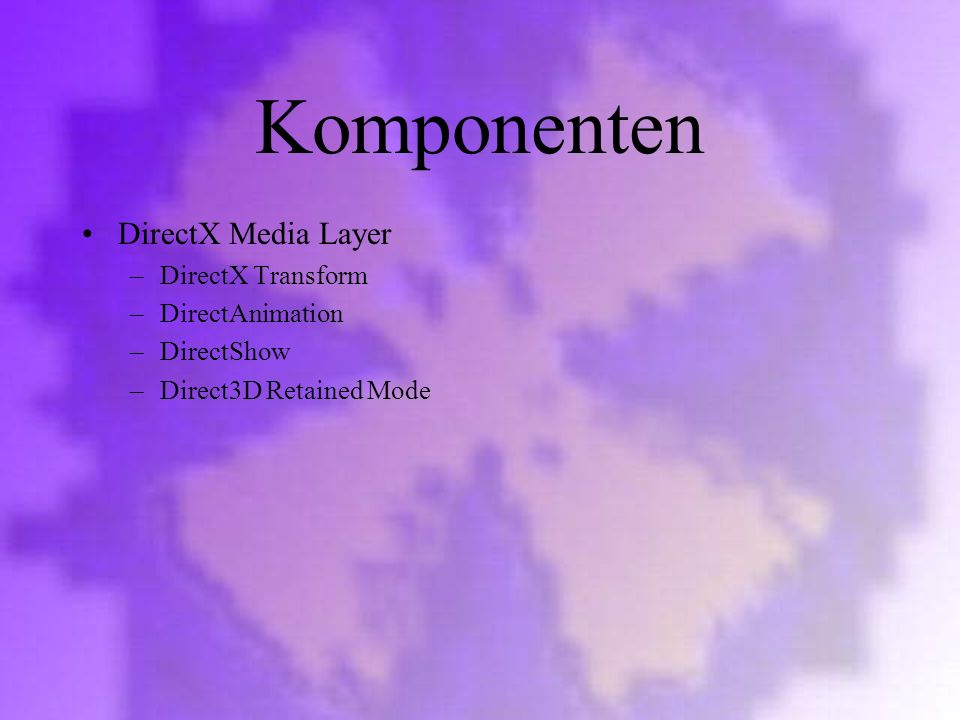 Komponenten DirectX Media Layer DirectX Transform DirectAnimation