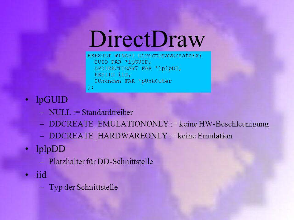 DirectDraw lpGUID lplpDD iid NULL := Standardtreiber