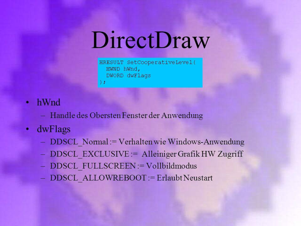 DirectDraw hWnd dwFlags Handle des Obersten Fenster der Anwendung