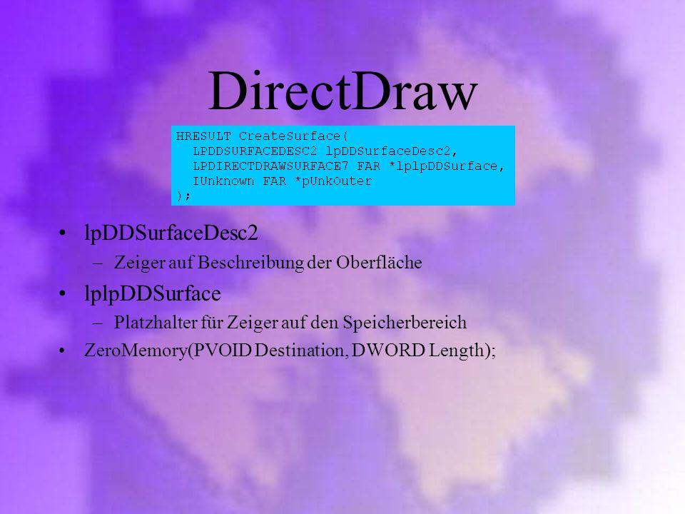 DirectDraw lpDDSurfaceDesc2 lplpDDSurface