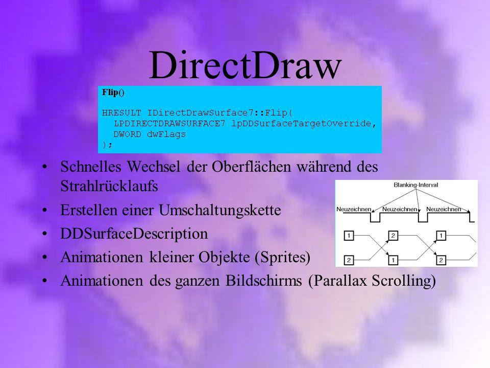 DirectDraw Schnelles Wechsel der Oberflächen während des Strahlrücklaufs. Erstellen einer Umschaltungskette.