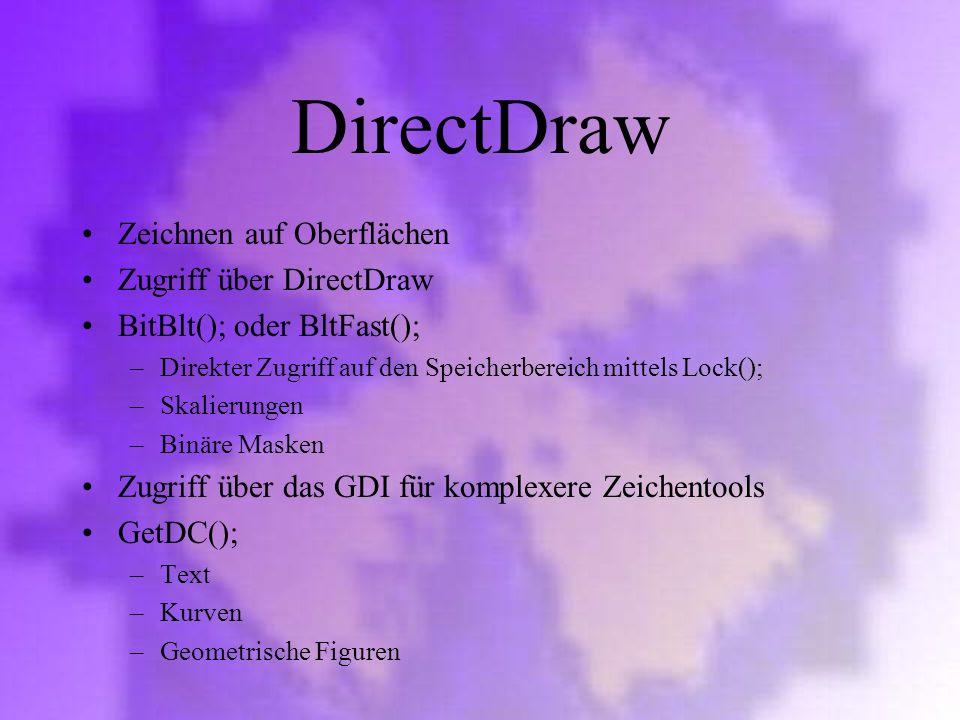 DirectDraw Zeichnen auf Oberflächen Zugriff über DirectDraw