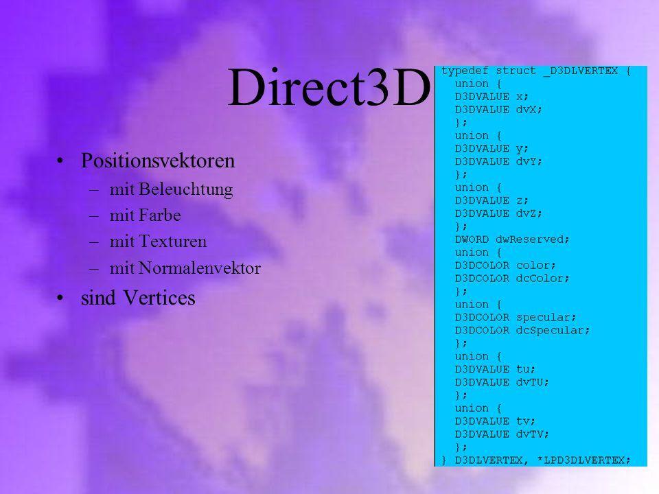 Direct3D Positionsvektoren sind Vertices mit Beleuchtung mit Farbe