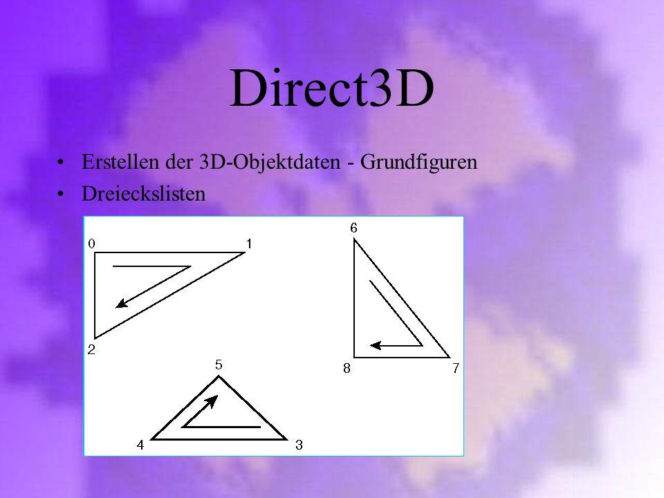 Direct3D Erstellen der 3D-Objektdaten - Grundfiguren Dreieckslisten