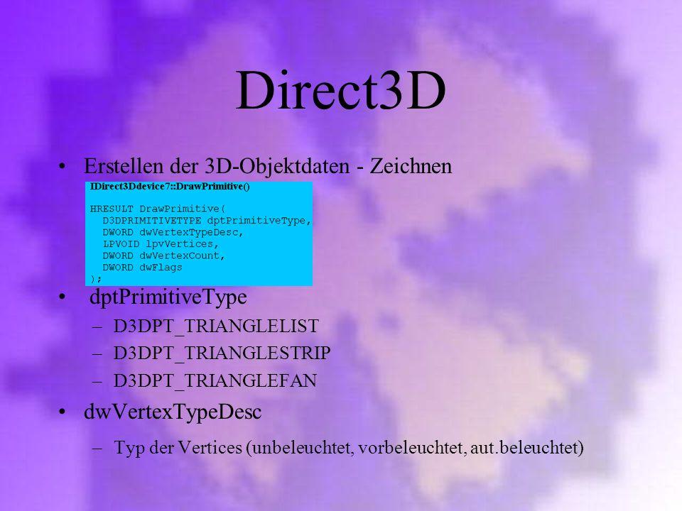 Direct3D Erstellen der 3D-Objektdaten - Zeichnen dptPrimitiveType