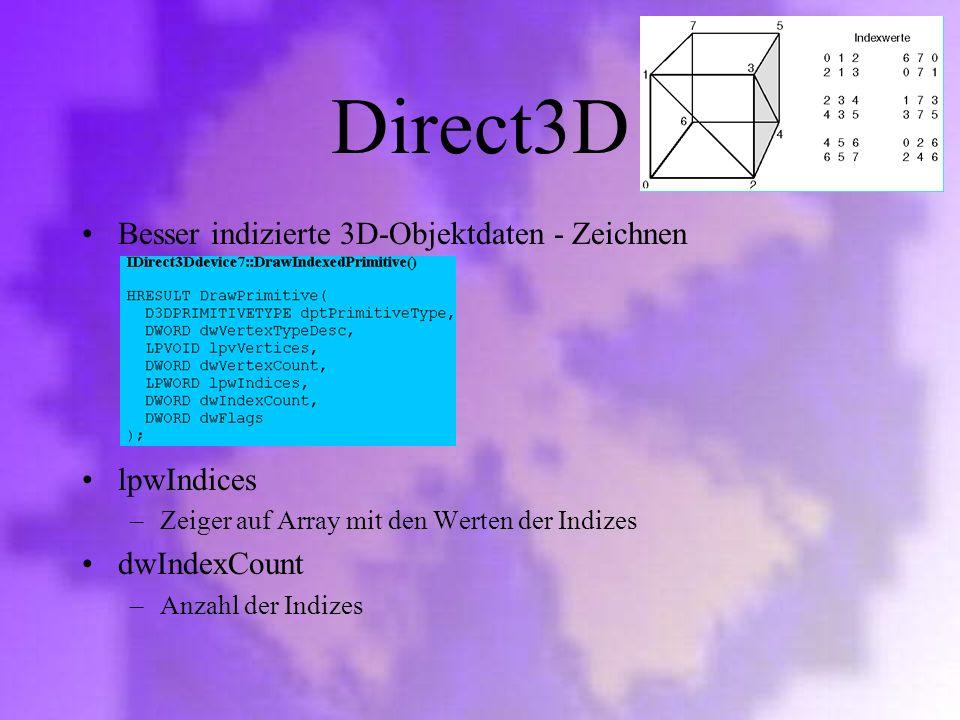 Direct3D Besser indizierte 3D-Objektdaten - Zeichnen lpwIndices